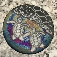 Sea Turtle Hatchlings Coaster Raku Pottery, handmade, handsigned - NEW