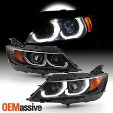 For 14-20 Impala Sedan LED [Dual Tube] Halogen Projector Black Headlights Pair