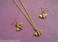 FUNKY CUTE BEE GOLD EARRINGS NECKLACE KITSCH WASP INSECT BUMBLE BEE GIRLS LADIES