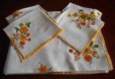 "5 pcs off White Linen Rectangular Tablecloth Napkin Yellow Flowers 66 x 50"""