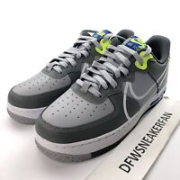 Nike Air Force 1 React Men's 10.5 Wolf Grey Shoes CD4366-002 New