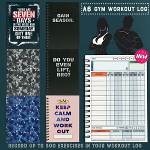 NEW WORKOUT LOG/GYM BUDDY/A6 BOOK/ WEIGHTS/REPS/GYM DIARY/ 500 EXERCISES