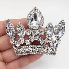 Bride Imperial Crown Wedding Pendant Clear Rhinestone Crystal Brooch Pin