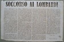 Risorgimento italiano. SOCCORSO AI LOMBARDI. Foglio datato 1848.