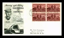 DR JIM STAMPS US RAILROAD ENGINEERS FIRST DAY COVER SCOTT 993 SEALED BLOCK
