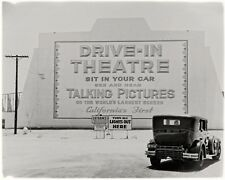 1935 Los Angeles California First Drive-In Movie Theatre Largest Screen Photo