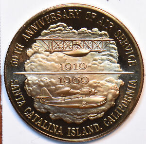 1969 Medal Proof Santa Catalina Island 50th Anniversry of Air Service 490567 c