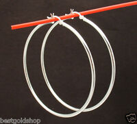 "2mm X 60mm 2 3/8"" Large Plain Polished Hoop Earrings Real 925 Sterling Silver"