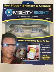 Mighty Sight Led Magnifying Eyewear Glasses with Rechargeable LED lights New