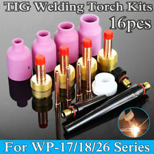 16 Pcs Grand gaz Lentille soudage TIG torche Buse Cup Kit for WP-17/18/26 Series