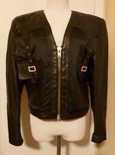 Pre-Owned VAN BUREN BLACK Leather Long Sleeve Bolero Jacket Size Small