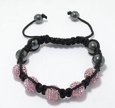 Adjustable 10mm 5 Stone Pink Crystal Disco Ball Macrame Hip Hop Bracelet