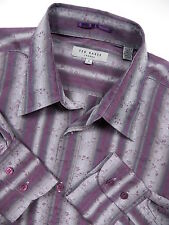 TED BAKER LONDON MENS 2 SMALL CASUAL SPORT SHIRT STYLISH FLORAL PURPLE STRIPE
