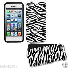 APPLE iPhone 5 DUAL LAYER HYBRID HARD CASE SKIN COVER WHITE ZEBRA
