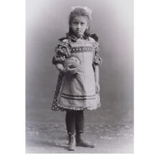 LITTLE GIRL w ball / pinafore fashion CDV PHOTO c1905