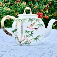 Victorian Aesthetic Flat Sided Teapot Embossed Bamboo and Birds Motif