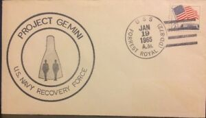 EARLY SPACE Cover: Gemini 2 Shipboard Recovery Cover -USS FOREST ROYAL Jan 1965