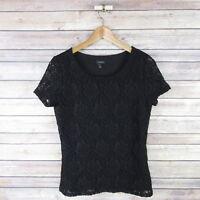 TALBOTS Women's Short Sleeve Lace Overlay Blouse S Small Black