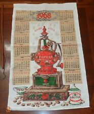 New listing Vintage Linen Kitchen 1968 Calendar Towel with a scene of Coffee Grinder