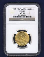 VATICAN CITY 1933-34 100 LIRE GOLD COIN, GEM UNCIRCULATED, CERTIFIED NGC MS-64