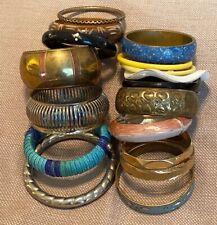 Vintage Bangle Bracelet Lot-Brass-Enamel-Plastic-Wood