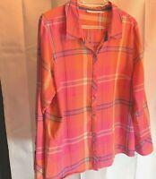 St Johns Bay WOmens Sz XL Zip Up Pink Shirt Top Long Sleeve Plaid Button Up