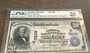 Lincoln Nebraska , National Bank commerce  1902 Pb ,$20 , pmg 30