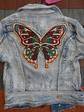 NWT NOLITA Denim Jacket Made in Italy Designer Butterfly Jean Jacket 40 XS