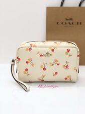 NWT Coach F31909 Cosmetic Makeup Travel Bag Cherry Boxy Canvas Chalk Multi $125