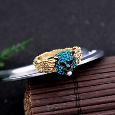 Women Girl Elegant Fashion Rhinestone Gold Ring Blue Leopard Crystal White Pearl