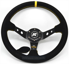KODE-350mm Deep Dish Suede Steering Wheel YELLOW Stitching Fit MOMO OMP Boss Kit