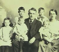 1910-1919 Antique Gelatin-Silver Sepia Large, Photograph Handsome Family, Kids