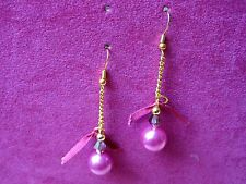 Handmade fuchsia pink dangle earrings with ribbon & chain, goldtone hooks