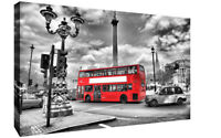 London Canvas Print Black & White Red Bus Landscape Canvas Wall Art Picture