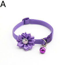 Dog Cat Adjustable Purple Flower Bell Collar Small Pet Puppy Buckle Choke Collar