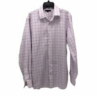 Banana Republic Mens Large Pink Blue Plaid Grant Fit Non-Iron Button Up Shirt