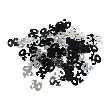 30th Birthday Party / Anniversary Table Confetti Decoration - Black / Silver 14g