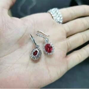 2Ct Oval Cut Red Ruby & Diamond Drop & Dangle Earrings 14K White Gold Finish