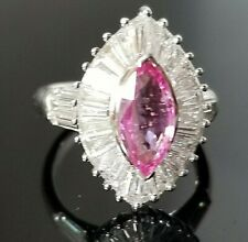 4TCW Stunning Pink Sapphire Baguette VS Diamond 18k white gold ring
