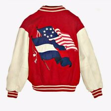 VTG. 80s Red White & Blue 2 Flags Wool Varsity w Leather Sleeves  - SZ M