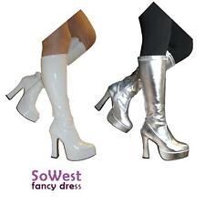 Fancy Dress gogo Platform super hero Party 60s 70s Retro Boots White or Silver