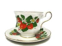 Royal Grafton Teacup Saucer Set Strawberry Fine Bone China England