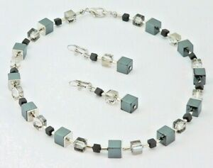 2er Schmuckset Würfelkette Ohrr. Perlen Hämatit schwarz Kristall Glas grau 066h