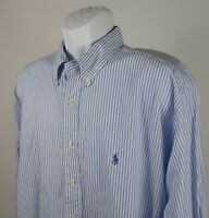 Ralph Lauren Polo Blue Striped Button Down Long Sleeve Shirt Men's sz 17.5 34/35