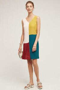 New Anthropologie HD in Paris Jules Color Block Shift Dress Womens 10 Multicolor