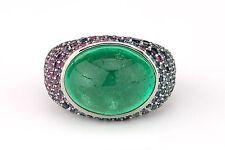 Buenos Aires 14.10 Carat Cabochon Emerald Sapphire Pavé Ring