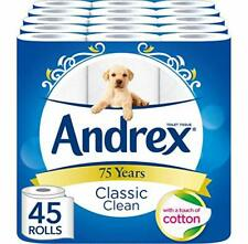 Andrex Classic Clean Toilet Tissue, 45 Rolls Paper CLEANER Household UK