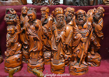 "11"" Collection Boxwood Wood Carving Myth Figure Eight Lmmortals God Statue Set"