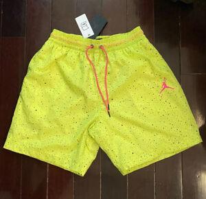 Nike Air Jordan Men's Swim Trunks Neon Yellow & Black Speckled Shorts Size Large