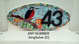 Kingfisher House Number Plate Door Sign Plaque Any Number Coloured Glass Mosaic